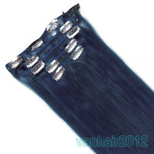 """New 15""""18""""20""""22""""7PCS Clip In/On Remy Real Human Hair Extensions Straight #Blue"""