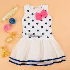 WT88 Kids Girl's Sleeveless O-Neck Bow Dot Patchwork Cute Multilayer Tutu Dress