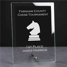 Personalised Engraved Glass Plaque Trophy Award - Chess Sports Club