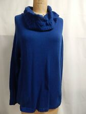 Liz Claiborne New York Cowl Neck Cable Collar Sweater L Blue  NWOT
