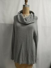 Liz Claiborne New York Cowl Neck Cable Collar Sweater L Grey  NWOT