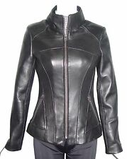 Women Petit & All Size 4124 Genuin Leather Motorcycle Jacket Best Cool Stylish