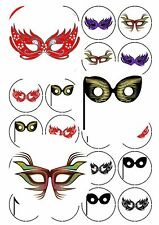 30-90 PRE-CUT EDIBLE WAFER CUP CAKE TOPPERS MASQUERADE BALL GRADUATION PARTY