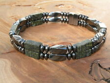 Men's Russian Serpentine Jade Magnetic Bracelet Anklet THERAPY 1-2 row QUICKship