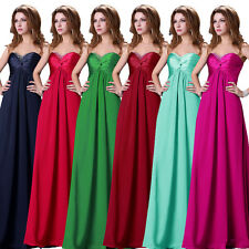 Cheap Strapless Long Evening Bridesmaid Formal Party Prom Gown Dresses Plus Size
