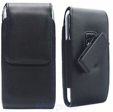 BLACK LEATHER BELT CLIP POUCH CASE COVER HOLSTER FOR SAMSUNG GALAXY S6/S6 Edge