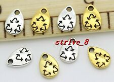 60/300pcs Tibet Silver two-sided Mini recoverable symbol Charms Pendant 10x7mm