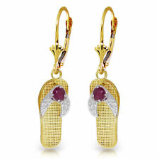 Genuine Red Ruby Gemstones Flip Flop Dangle Leverback Earrings in 14K Solid Gold