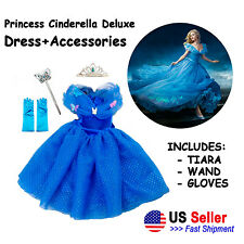 New 2015 Dress Cinderella Princess Gown Costume Kids Party Girls Cosplay Movie