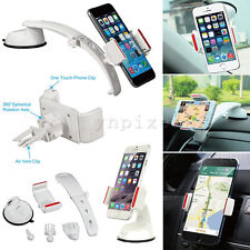 White 3 in1 Windshield Dashboard Air Vent Car Mount Holder For Mobile Phones GPS