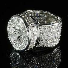 18K White Gold ICED OUT Simulated Lab Diamond Band MICROPAVE Men Bling Ring NEW