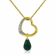 Genuine Emerald & Diamonds Heart Pendant Necklace 14K Yellow, White or Rose Gold