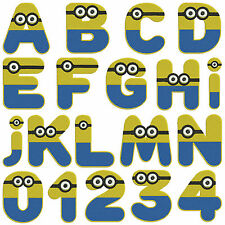 Minion Alphabet & Numbers * Machine Embroidery Patterns  36 designs in 3 sizes