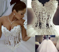 2015 New Bling Crystal Pearl Strapless Bridal Ball Princess Wedding Dress Gowns