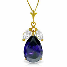 Genuine Blue Sapphire & White Topaz Gemstones Pendant Necklace in 14K Solid Gold