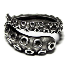 925 Sterling Silver Octopus Tentacle Ring, Handmade Adjustable Wrap Ring Men Man