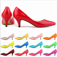 New Womens Pumps Pointed Toe Kitten Heels Faux Leather Bridesmaid Wedding Shoes