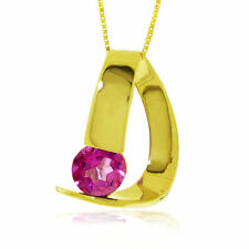 Genuine Pink Topaz Round Cut Gemstone Solitaire Pendant Necklace 14K. Solid Gold