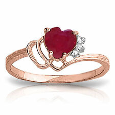 Genuine Red Ruby Heart Gemstone & Diamonds Ring 14K. Yellow,  White or Rose Gold