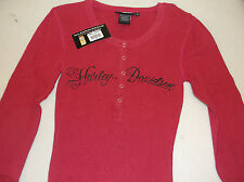 Harley-Davidson Deep Pink button henley thermal women's Long sleeve 96388-11VW