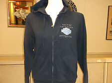 "Harley-davidson BLue ""TIme Worn"" zip up hoodie hooded sweatshirt Women's"