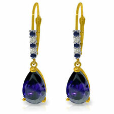 Genuine Sapphire Gemstones & Diamonds Leverback Dangle 14K Solid Gold Earrings