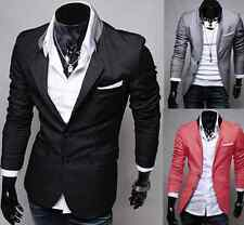 Men Casual Slim Fit Two Buttons Suit Blazer Coat Jacket Tops Outerwear Overcoat