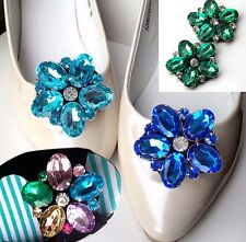 A Pair Blue Cyan Color Flower Rhinestone Crystal Wedding Bridal Shoe Clips