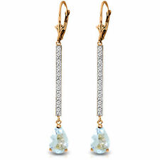 Genuine Aquamarine Pear Gemstones & Diamonds Bar Dangle Earrings 14K. Solid Gold