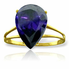 Genuine Sapphire Pear Cut Gemstone Solitaire Ring 14K Yellow, White or Rose Gold