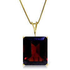 Emerald Cut  Red Garnet 7 ct Gemstone Solitaire Pendant Necklace 14K. Solid Gold