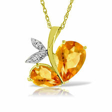 Genuine Citrine Gems & Diamonds Modern Heart Pendant Necklace in 14K. Solid Gold