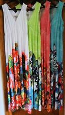 NEW One World Micro Jersey Knit Empire Waist Border Printed Maxi Dress - S or M