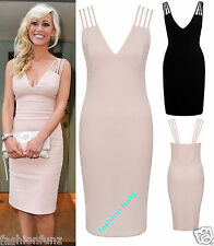 Women New Ladeis Celeb Sarah Multi Straps Nude Bodycon Party Midi Dress 8-14