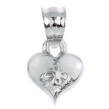 Solid White Gold Baby Heart Charm Pendant