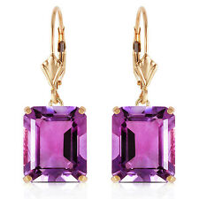13 ctw Natural Amethyst Emerald Cut Gemstones Leverback Earrings 14K. Solid Gold