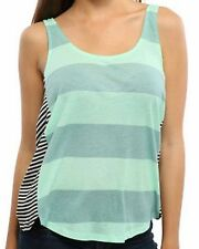 New HURLEY Women's Jrs Green Striped Casual Knit Coco 2 Tank Top Tee Shirt $30