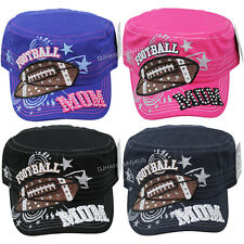 FOOTBALL MOM CADET HAT Rhinestone Embroidered Sport Womens Baseball Cap