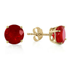 Genuine Red Ruby Gemstone Round Stud Post Earrings 14K. Yellow, White, Rose Gold