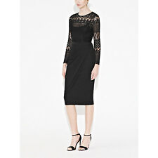 Brand new French Connection Lace Drape Black Long Sleeved Dress 8-14 - SALE !!!