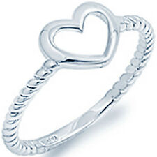 925 Sterling Silver Open Cut Sideways Heart Rolling Twisted Band Ring Size 3-11