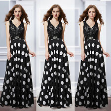 Ever Pretty Sexy V-neck Black Lace And Polka-dotted Maxi Dress 08323