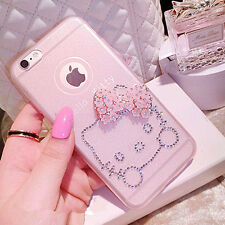 KITTY SOFT TPU BLING CRYSTAL DIAMONDS PHONE CASE COVER APPLE IPHONE 5 5S 6 PLUS