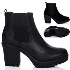 WOMENS CLEATED SOLE BLOCK HEEL CHELSEA ANKLE BOOTS SHOES SZ 3-8