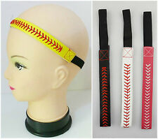1x Baseball Softball Sports Headband Yellow Leather Red Lace Seam & Colors PICK