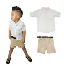 Boys Clothing Summer Casual Set - Kids Age 2 To  8 (White Shirt + Khaki Shorts)