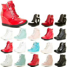 New Womens Wedge Heel Platform High Top Lace Up Fashion Sneaker Ankle Booties US