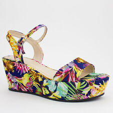Womens Navy Floral Flower Open-Toe Flatform Wedge Bamboo Madison-01
