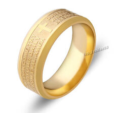 Stainless Steel Etched English Lord's Prayer Cross Wedding Gold Band Ring New