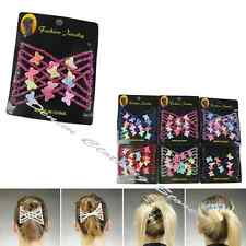 6pcs Woman Colorful Butterfly Stretchy Beaded Magic Hair Combs Double Clips Lot